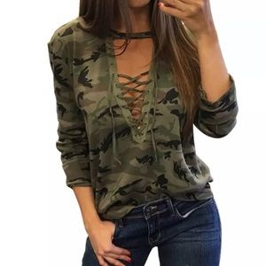 *ONE LEFT!* Camouflage Lace Up Long Sleeve Tee